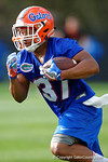 Florida Gators running back Mark Herndon sprints downfield as the University of Florida Gators football team continues the first week of 2016 spring practices.  March 11th, 2016. Gator Country photo by David Bowie.