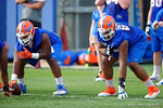 Florida Gators offensive lineman David Sharpe and the offensive line run through drills as the University of Florida Gators football team continues the first week of 2016 spring practices.  March 11th, 2016. Gator Country photo by David Bowie.