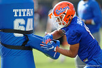 Florida Gators freshman wide receiver Freddie Swain warming up as the University of Florida Gators football team continues the first week of 2016 spring practices.  March 11th, 2016. Gator Country photo by David Bowie.