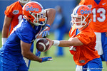 Florida Gators quarterback Luke Del Rio turns to hand off the ball as the University of Florida Gators football team continues the first week of 2016 spring practices.  March 11th, 2016. Gator Country photo by David Bowie.