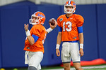 Florida Gators quarterback Luke Del Rio and Felipe Franks  during quarterback drills as the Florida Gators football team took to the indoor practice facility on Wednesday for another spring practice as the Gators prepare for their annual Orange and Blue Game.  March 30th, 2016.  Gator Country photo by David Bowie.