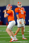 Florida Gators quarterback Kyle Trask and the Florida Gators football team took to the indoor practice facility on Wednesday for another spring practice as the Gators prepare for their annual Orange and Blue Game.  March 30th, 2016.  Gator Country photo by David Bowie.