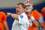 Florida Gators head coach Jim McElwain and the Florida Gators football team took to the indoor practice facility on Wednesday for another spring practice as the Gators prepare for their annual Orange and Blue Game.  March 30th, 2016.  Gator Country photo by David Bowie.