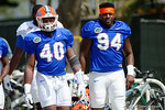 Florida Gators linebacker Jarrad Davis and defensive lineman Bryan Cox and the Florida Gators football team took to the indoor practice facility on Wednesday for another spring practice as the Gators prepare for their annual Orange and Blue Game.  March 30th, 2016.  Gator Country photo by David Bowie.