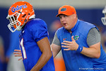 Florida Gators defensive coordinator Geoff Collins coaching up Florida Gators linebacker Darius Singletary as the Florida Gators football team took to the indoor practice facility on Wednesday for another spring practice as the Gators prepare for their annual Orange and Blue Game.  March 30th, 2016.  Gator Country photo by David Bowie.