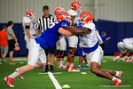 Florida Gators linebacker R.J. Raymond and Florida Gators tight end Moral Stephens during blocking drills as the Florida Gators football team took to the indoor practice facility on Wednesday for another spring practice as the Gators prepare for their annual Orange and Blue Game.  March 30th, 2016.  Gator Country photo by David Bowie.