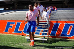 Florida Gators running back Jordan Scarlett as the University of Florida Gators football team walks into the Ben Hill Griffin Stadium during Gator Walk for their Orange and Blue debut called Swamp Night this year.  April 8th, 2016.  Gator Country Photo by David Bowie.