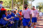 Florida Gators offensive lineman Martez Ivey as the University of Florida Gators football team walks into the Ben Hill Griffin Stadium during Gator Walk for their Orange and Blue debut called Swamp Night this year.  April 8th, 2016.  Gator Country Photo by David Bowie.