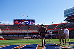 Florida Gators head coach Jim McElwain as the University of Florida Gators football team walks into the Ben Hill Griffin Stadium during Gator Walk for their Orange and Blue debut called Swamp Night this year.  April 8th, 2016.  Gator Country Photo by David Bowie.