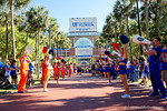 The Florida Gators cheerleaders march in, as the University of Florida Gators football team walks into the Ben Hill Griffin Stadium during Gator Walk for their Orange and Blue debut called Swamp Night this year.  April 8th, 2016.  Gator Country Photo by David Bowie.