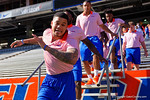 Florida Gators defensive back Jalen Tabor doing the dab as the University of Florida Gators football team walks into the Ben Hill Griffin Stadium during Gator Walk for their Orange and Blue debut called Swamp Night this year.  April 8th, 2016.  Gator Country Photo by David Bowie.