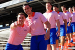 Florida Gators kicker Eddy Pineiro and punter Jon Gould as the University of Florida Gators football team walks into the Ben Hill Griffin Stadium during Gator Walk for their Orange and Blue debut called Swamp Night this year.  April 8th, 2016.  Gator Country Photo by David Bowie.
