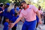 Florida Gators defensive lineman Joey Ivie as the University of Florida Gators football team walks into the Ben Hill Griffin Stadium during Gator Walk for their Orange and Blue debut called Swamp Night this year.  April 8th, 2016.  Gator Country Photo by David Bowie.