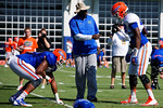 Florida Gators defensive line coach Chris Rumph coaches up Florida Gators tight end C'yontai Lewis and Florida Gators defensive lineman Jordan Smith as the University of Florida Gators run drills and scrimmage during the third week of spring practice.  March 23rd, 2016.  Gator Country photo by David Bowie.