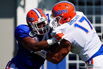 Florida Gators tight end Camrin Knight and Florida Gators defensive lineman Jordan Sherit battles as the University of Florida Gators run drills and scrimmage during the third week of spring practice.  March 23rd, 2016.  Gator Country photo by David Bowie.