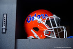 A Florida Gators helmet inside the locker room during media day for the 2016 SEC Championship at the Georgia Dome in Atlanta, Georgia.  December 2nd, 2016.  Gator Country photo by David Bowie.