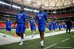 Florida Gators defensive lineman Keivonnis Davis and Florida Gators linebacker Kylan Johnson during media day for the 2016 SEC Championship at the Georgia Dome in Atlanta, Georgia.  December 2nd, 2016.  Gator Country photo by David Bowie.