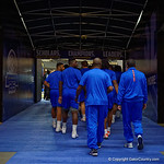 The Florida Gators walk out of the locker room and through the tunnel towards the football field during media day for the 2016 SEC Championship at the Georgia Dome in Atlanta, Georgia.  December 2nd, 2016.  Gator Country photo by David Bowie.