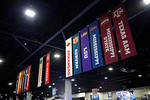 Banners showing all the SEC schools hang from the ceiling inside fan fair during media day for the 2016 SEC Championship at the Georgia Dome in Atlanta, Georgia.  December 2nd, 2016.  Gator Country photo by David Bowie.