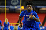 Florida Gators running back Lamical Perine rushing during a short practice at media day for the 2016 SEC Championship at the Georgia Dome in Atlanta, Georgia.  December 2nd, 2016.  Gator Country photo by David Bowie.