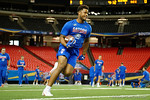 Florida Gators tight end Moral Stephens during a short practice at media day for the 2016 SEC Championship at the Georgia Dome in Atlanta, Georgia.  December 2nd, 2016.  Gator Country photo by David Bowie.