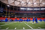 Florida Gators quarterback Austin Appleby and the Florida Gators warm up prior to a short practice during media day for the 2016 SEC Championship at the Georgia Dome in Atlanta, Georgia.  December 2nd, 2016.  Gator Country photo by David Bowie.