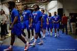 Florida Gators defensive lineman Keivonnis Davis and Florida Gators tight end C'yontai Lewis walk towards the football field during media day for the 2016 SEC Championship at the Georgia Dome in Atlanta, Georgia.  December 2nd, 2016.  Gator Country photo by David Bowie.