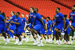 Florida Gators offensive lineman David Sharpe warming up at  a short practice during media day for the 2016 SEC Championship at the Georgia Dome in Atlanta, Georgia.  December 2nd, 2016.  Gator Country photo by David Bowie.