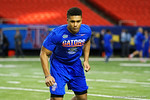 Florida Gators defensive back Quincy Wilson during a defensive backs drill at practice during media day for the 2016 SEC Championship at the Georgia Dome in Atlanta, Georgia.  December 2nd, 2016.  Gator Country photo by David Bowie.