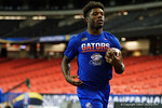 Florida Gators running back Jordan Cronkrite rushing during a short practice at media day for the 2016 SEC Championship at the Georgia Dome in Atlanta, Georgia.  December 2nd, 2016.  Gator Country photo by David Bowie.