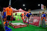 Florida Gators fans take part in fan fair activities at the 2016 SEC Championship at the Georgia Dome in Atlanta, Georgia.  December 2nd, 2016.  Gator Country photo by David Bowie.