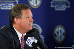 Florida Gators Head Coach Jim McElwain talks to the media during media day for the 2016 SEC Championship at the Georgia Dome in Atlanta, Georgia.  December 2nd, 2016.  Gator Country photo by David Bowie.