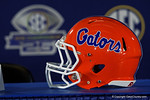 A Florida Gators helmet during media day for the 2016 SEC Championship at the Georgia Dome in Atlanta, Georgia.  December 2nd, 2016.  Gator Country photo by David Bowie.