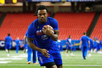 Florida Gators running back Jordan Scarlett rushing during a short practice at media day for the 2016 SEC Championship at the Georgia Dome in Atlanta, Georgia.  December 2nd, 2016.  Gator Country photo by David Bowie.