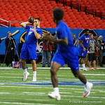 Florida Gators quarterback Austin Appleby throwing downfield during a short practice at media day for the 2016 SEC Championship at the Georgia Dome in Atlanta, Georgia.  December 2nd, 2016.  Gator Country photo by David Bowie.