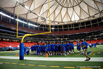The Florida Gators football team gathers together in the endzone during media day for the 2016 SEC Championship at the Georgia Dome in Atlanta, Georgia.  December 2nd, 2016.  Gator Country photo by David Bowie.
