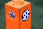 An endzone pylon during media day for the 2016 SEC Championship at the Georgia Dome in Atlanta, Georgia.  December 2nd, 2016.  Gator Country photo by David Bowie.