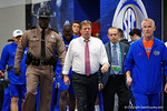 Florida Gators Head Coach Jim McElwain walks out of the locker room and towards the football field for practice during media day for the 2016 SEC Championship at the Georgia Dome in Atlanta, Georgia.  December 2nd, 2016.  Gator Country photo by David Bowie.