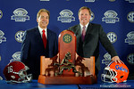 Florida Gators Head Coach Jim McElwain and Alabama Crimson Tide head coach Nick Saban pose for photos during media day for the 2016 SEC Championship at the Georgia Dome in Atlanta, Georgia.  December 2nd, 2016.  Gator Country photo by David Bowie.