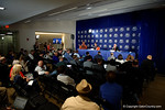Florida Gators Head Coach Jim McElwain talking to the media during media day for the 2016 SEC Championship at the Georgia Dome in Atlanta, Georgia.  December 2nd, 2016.  Gator Country photo by David Bowie.