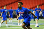 Florida Gators defensive back Quincy Lenton during a defensive backs drill at practice during media day for the 2016 SEC Championship at the Georgia Dome in Atlanta, Georgia.  December 2nd, 2016.  Gator Country photo by David Bowie.