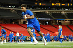 Florida Gators tight end Camrin Knight during a short practice at media day for the 2016 SEC Championship at the Georgia Dome in Atlanta, Georgia.  December 2nd, 2016.  Gator Country photo by David Bowie.