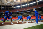 Florida Gators offensive lineman Jawaan Taylor,Florida Gators offensive lineman Tyler Jordan and Florida Gators offensive lineman Brett Heggie at a short practice during media day for the 2016 SEC Championship at the Georgia Dome in Atlanta, Georgia.  December 2nd, 2016.  Gator Country photo by David Bowie.
