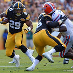 Iowa Hawkeyes running back LeShun Daniels Jr. rushing during the first half as the Florida Gators defeat the University of Iowa Hawkeyes 30-3 in the 2017 Outback Bowl in Tampa, Florida.  January 2nd, 2017.  Country photo by David Bowie.