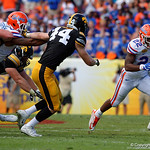 Florida Gators running back Lamical Perine rushing during the first half as the Florida Gators defeat the University of Iowa Hawkeyes 30-3 in the 2017 Outback Bowl in Tampa, Florida.  January 2nd, 2017.  Country photo by David Bowie.