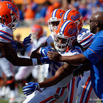 Florida Gators running back Jordan Scarlett and Florida Gators Assistant Coach, Running Backs Tim Skipper working during pre-game as the Florida Gators defeat the University of Iowa Hawkeyes 30-3 in the 2017 Outback Bowl in Tampa, Florida.  January 2nd, 2017.  Country photo by David Bowie.