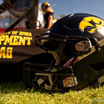 An Iowa Hawkeyes helmet rests on the sideline during the first half as the Florida Gators defeat the University of Iowa Hawkeyes 30-3 in the 2017 Outback Bowl in Tampa, Florida.  January 2nd, 2017.  Country photo by David Bowie.