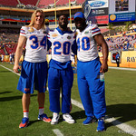 Florida Gators linebacker Alex Anzalone, Florida Gators defensive back Marcus Maye and Florida Gators linebacker Jarrad Davis during pre-game as the Florida Gators defeat the University of Iowa Hawkeyes 30-3 in the 2017 Outback Bowl in Tampa, Florida.  January 2nd, 2017.  Country photo by David Bowie.