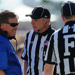 Florida Gators Head Coach Jim McElwain talking to the referees during the first half as the Florida Gators defeat the University of Iowa Hawkeyes 30-3 in the 2017 Outback Bowl in Tampa, Florida.  January 2nd, 2017.  Country photo by David Bowie.