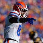 Florida Gators wide receiver Antonio Callaway at the line of scrimmage during the second half as the Florida Gators defeat the University of Iowa Hawkeyes 30-3 in the 2017 Outback Bowl in Tampa, Florida.  January 2nd, 2017.  Country photo by David Bowie.